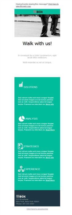 Un diseño responsive de plantillas newsletter bien hecho dará rigor a tus campañas de email marketing. Fíjate lo bien que queda este ejemplo concreto para una empresa de Marketing y Publicidad
