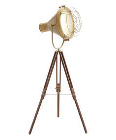 Look at this #zulilyfind! Wood & Brass Studio Light Floor Lamp #zulilyfinds
