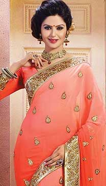 Indian Ethnic Orange Color Georgette Buy Designer Sarees Online, Wear Store, Large Women, Indian Ethnic, Orange Color, Sari, How To Wear, Collection, Fashion