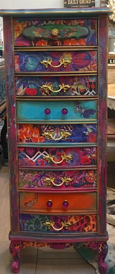 Sold Custom painted to order Lingerie chest dresser image 1 Furniture painted dressers Your place to buy and sell all things handmade Mexican Furniture, Funky Painted Furniture, Bohemian Furniture, Paint Furniture, Upcycled Furniture, Cool Furniture, Bedroom Furniture, Decoupage Furniture, Diy Dresser Makeover
