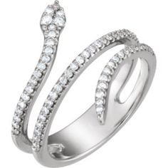 123084 / Complete With Stone / 14kt White / Polished / 1/3 CTW Diamond Snake Ring Locate a Jeweler Here: http://www.stuller.com/locateajeweler/