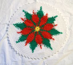 Vintage Christmas Doily Poinsettia Doily by VintagePlusCrafts