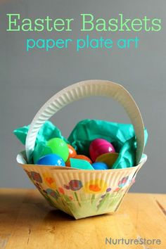 plate Easter basket craft How to make an Easter basket paper plate craft - love how each child can add their own art to this.How to make an Easter basket paper plate craft - love how each child can add their own art to this. Paper Plate Art, Paper Plate Crafts, Paper Plates, Paper Plate Basket, Paper Craft, Egg Crafts, Bunny Crafts, Easter Art, Easter Crafts For Kids