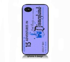IPhone 5 Vintage Disney ticket- blue- Iphone 4 cell phone accessory case, Iphone 5 cover PRESALE