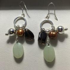 Earrings 2 1/2 inch sterling silver earrings with genuine smoky quartz, fresh water pearls, and prehnite (real gemstones). NWOT  Jewelry Earrings
