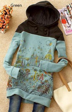 Womens Lady Cute Castle Cotton Hooded Top Coat L AU54 | eBay
