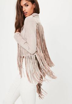 Women's Coats & Jackets Online Come and join the suede parade wearing this pink biker jacket - featuring fringe details and a faux suede fabric. You'll be raising the style stakes in this. Fringe Jacket, Faux Suede Fabric, Estilo Boho, Petite Outfits, Western Outfits, Festival Fashion, A Boutique, Coats For Women, Clothes