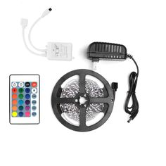 RGB LED Strip Light Outdoor Non-Waterproof 5M 3528 24Key Remote 12V Supply Power #ANNT #MultipurposePartyWedding