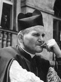 Pope John Paul II before he was elected Pope. Look how young he looks!