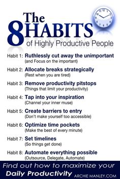 Success Motivation Work Quotes : QUOTATION – Image : Quotes Of the day – Description The 8 Habits of Highly Productive People Sharing is Caring – Don't forget to share this quote ! Self Development, Personal Development, Leadership Development, Professional Development, Coaching Personal, Life Coaching Tools, Good Habits, Healthy Habits, Life Skills