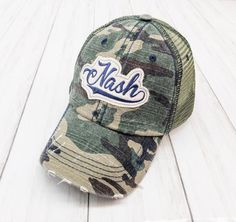 Nash / Nashville / Tennessee / Love Embroidered Raggy Patch Distressed Camouflage Trucker Hat or Messy Bun / High Ponytail Cap by on Etsy Hat Quotes, High Ponytails, Nashville Tennessee, Custom Hats, Velcro Straps, Hats For Women, Camouflage, Messy Bun, Baseball Hats