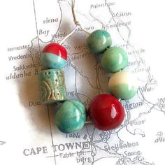 Clay Beads Ceramic Beads Handmade Beads Focal by EarthbutterStudio, $13.00