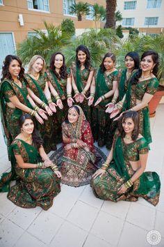Indian bridesmaids in green lehengas. Photo by www.weddingdocumentary.com