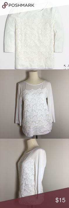 [J. Crew] front lace tee white Sz S ♥️ pre-loved  EUC  Features: lace detail in front over top soft cotton tee.   Measurements:  length(shoulder to bottom): 24.5 in Pit to pit: 17 in   Shopper tip: pls refer to brand website for their sizing guidelines!   no trades no modeling prices always negotiable J. Crew Tops Blouses