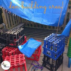 A pulley to allow the children to transport things across the outdoor area! A pulley to allo Construction Area Eyfs, Construction Area Early Years, Outdoor Learning Spaces, Outdoor Play Areas, Play Spaces, Outdoor Spaces, Outdoor Classroom, Outdoor School, Eyfs Classroom