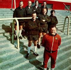 Liverpool manager Bob Paisley and the Boot Room boys pose for a photocall held at Anfield circa Photo: Steve Hale. Liverpool Home, Liverpool Football Club, Liverpool Legends, Bob Paisley, Gerrard Liverpool, This Is Anfield, You'll Never Walk Alone, England Football, Boy Poses