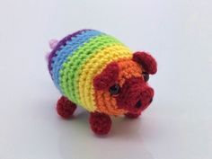 Rainbow Pig free crochet pattern by Lonemer Creations