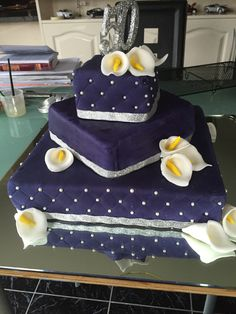 Purple Quilted 50th Cake