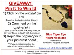 GIVEAWAY - Pin It To Win It: To Win This Item from RomanticThoughts, follow the instructions: Click on ORIGINAL pin, comment leaving a way to contact you, REPIN the ORIGINAL Pin! Contest ends 7/5/12 @ 11:59pm EST. Winner announced 7/6/12.