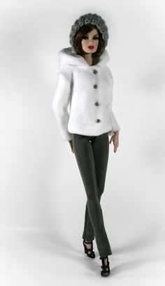 By ChicBarbieDesigns (Raleigh, N.C.) on Etsy | White fleece hooded jacket w/ gray buttons & snap closures. Gray leggings w/ flared leg. Hand crocheted matching gray hat | Designed to fit Barbie, Silkstone & Fashion Royalty Dolls.