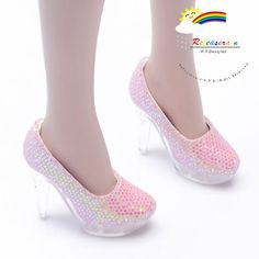"Clear Stiletto Platform High-Heel Glitter Pumps Shoes Glitter Sequins Pink for 22"" Tonner American Model Dolls"