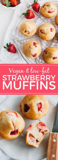 Low-fat vegan strawberry muffins (with a tested gluten-free option) + low-fat! Low-fat vegan strawberry muffins (with a tested gluten-free option) + low-fat! Best Diet Foods, Fat Foods, Paleo Dessert, Sin Gluten, Vegan Gluten Free, Paleo Vegan, Dairy Free, Low Fat Muffins, Fat Free Recipes