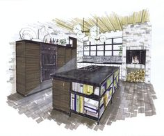 Industrial rustic kitchen concept designed by Blazysgerard and illustrated by Michelle Morelan. Discover the design details and enter to win a Jenn-Air wall oven! http://houseandhome.com/ms/jenn-air/en-inspired-by-design-aug/#room/2 | House & Home #contest
