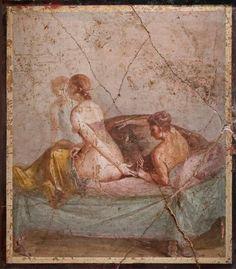 Erotic Roman fresco from Pompeii locked away in the 'Secret Room' of the Museo Archaeologico di Napoli 1st century BCE-1st century.