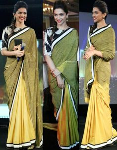 The great bollywood diva, Deepika Padukone is often seen wearing sarees during her public appearance. We love her in sarees, and often wait for her desi avatar. Indian Attire, Indian Wear, Indian Dresses, Indian Outfits, Deepika Padukone Saree, Randal, Stylish Sarees, Trendy Sarees, Elegant Saree