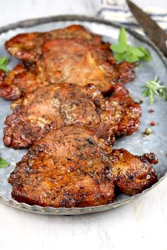 Easy Marinated Pork Chops are flavorful and delicious. Perfect for grilling or baking. Just a few simple pantry ingredients come together for an incredibly tasty dinner for any night of the week. Marinated Pork Chops Grilled, Balsamic Pork Chops, Grilled Meat, Grilled Vegetables, Grilled Pork Chops Boneless, Pork Loin, Easy Pork Chop Recipes, Best Soup Recipes, Pork Recipes