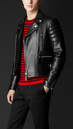 Leather Biker Jacket. A classic  #MensFashion #MensStyle