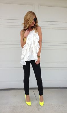 Monochrome Look with accents / black and white outfit with pop of neon yellow - The Tres Chic