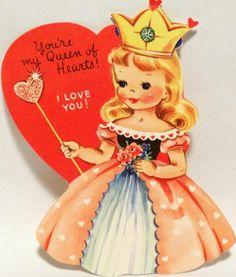 J387 50s Lovely Queen of Hearts Vintage Diecut Valentine Card | eBay