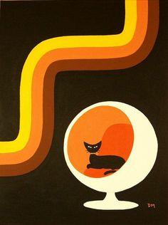 Futuro - black cat illustration vintage