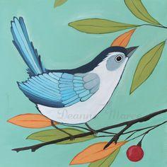 Set of 18 Bird Paintings by Deanna Maree www.deannamaree.etsy.com