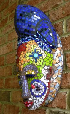 Stained Glass Mosaic Mask She Dreams of Flowers by artsyphartsy