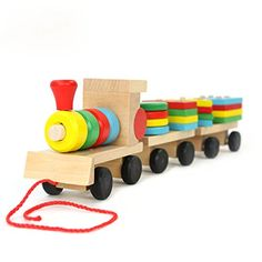 Baby Block Toys - Block Stacking Puzzle Train Construction Sets Wooden Early Learning Playing Toys * You can get more details by clicking on the image.