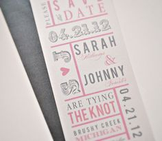 Chloe Wedding Save the Date Pink Charcoal Grey and by lvandy27