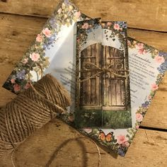 Secret garden invitation with an old rustic gate and a secret message on the next inner panel... creation of gorgeous invites
