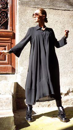 NEW Spring 2015 Hot Black Maxi Loose Shirt / Asymmetric door Aakasha