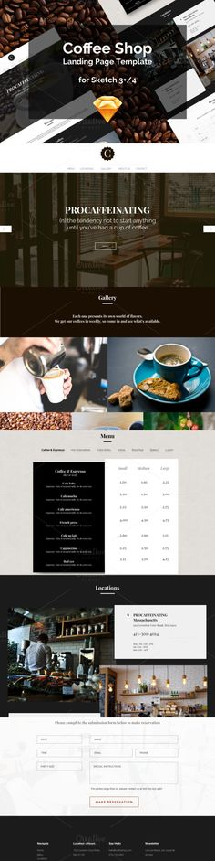 Coffee Shop Landing Page. Landing Pages Templates. $2.00