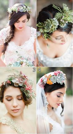 Bridal Crown With Succulents