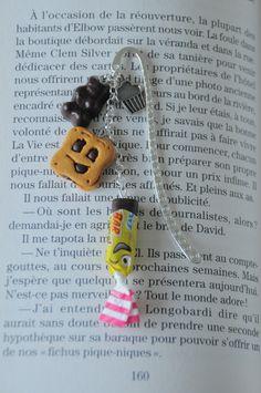 """♥♥NOUVEAU♥♥ Marque-page gourmand """"biscuit sourire"""" en fimo : Marque-pages par les-sucreries-damelie"""