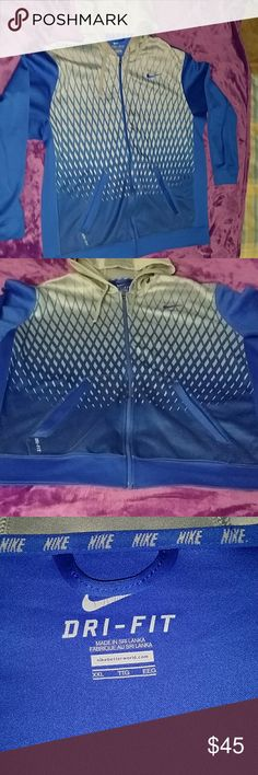 Nike Dri-fit sweatshirt Nike Dri-fit blue and grey swearshirt. Size 2xl. Has seen a little love, but is still in excellent condition. Make an offer or put it in a bundle and I could be yours! Nike Jackets & Coats Lightweight & Shirt Jackets