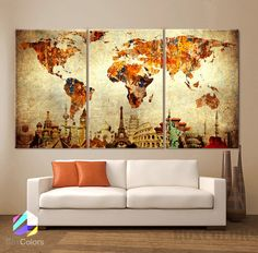 Such a cute idea lay a world map over 3 canvas cut into 3 pieces large 30x 60 3 panels 30x20 ea art canvas print original wonders of the world old paper map vintage wall decor home interior gumiabroncs Gallery