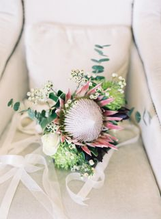 Protea bouquet: http://www.stylemepretty.com/little-black-book-blog/2015/07/20/romantic-hawaiian-estate-destination-wedding/ | Photography: O'Malley Photographers - http://omalleyphotographers.com/