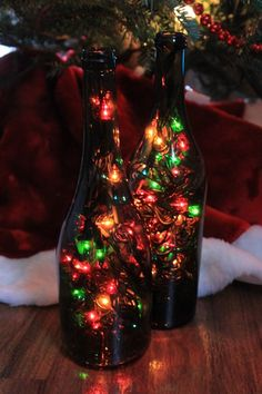 Upcycled Wine Bottle with lights! LOVE THIS!!