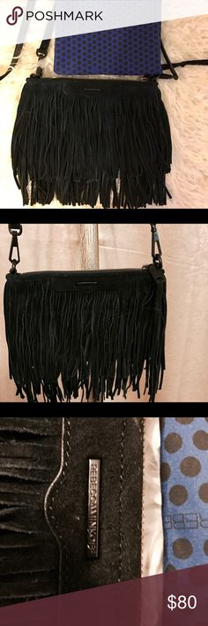 "Rebecca Minkoff Finn Suede Fringe Crossbody Rebecca Minkoff Finn Suede Fringe Crossbody. Removable,adjustable strap, 22"" drop, zip  top closure, one slip pocket . 6""H x 9"" W x 1"" D. In a good condition. Rebecca Minkoff Bags Crossbody Bags"
