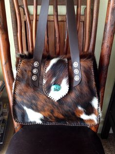 The Bonnie Bag. By gowestdesigns.us. Custom, made to order cowhide bags, purses and totes.