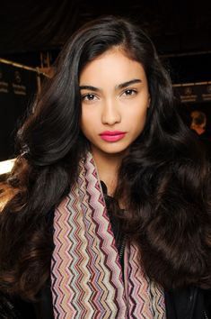 Hair & Make Up - NYFW Fall 2013 - luscious - monstylepin #fashion #fashionweek #longhair #wavyhair #lipstick #beauty